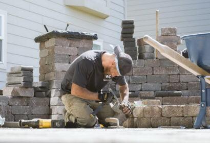 Hardscape retaining wall installation by Spokane landscaper